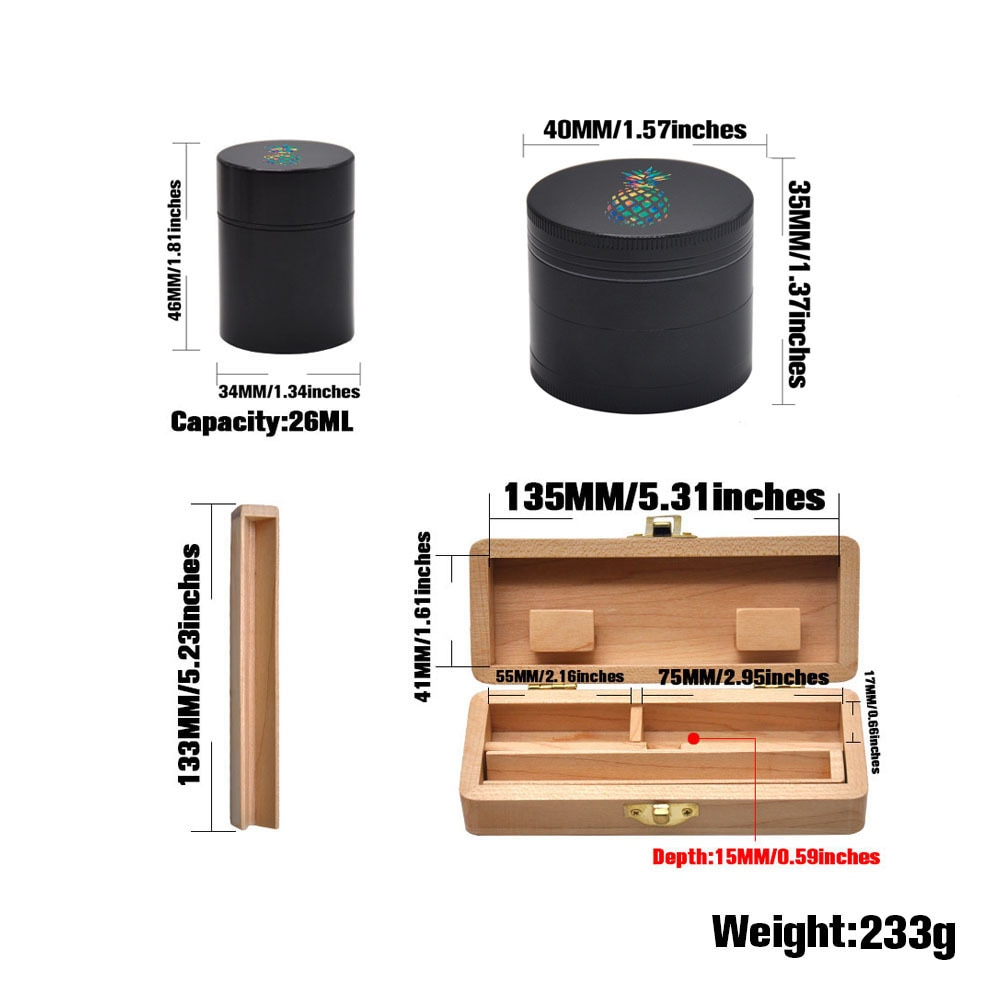 Wooden Stash Box Set w/ 4 Layer Herb Grinder & Storage Jar - storage, google-feed-2