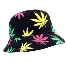 Fisherman Style Multi Color Weed Leaf Bucket Hat