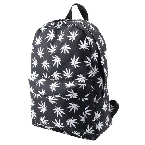 Black & White Hemp Leaf Waterproof School Backpack