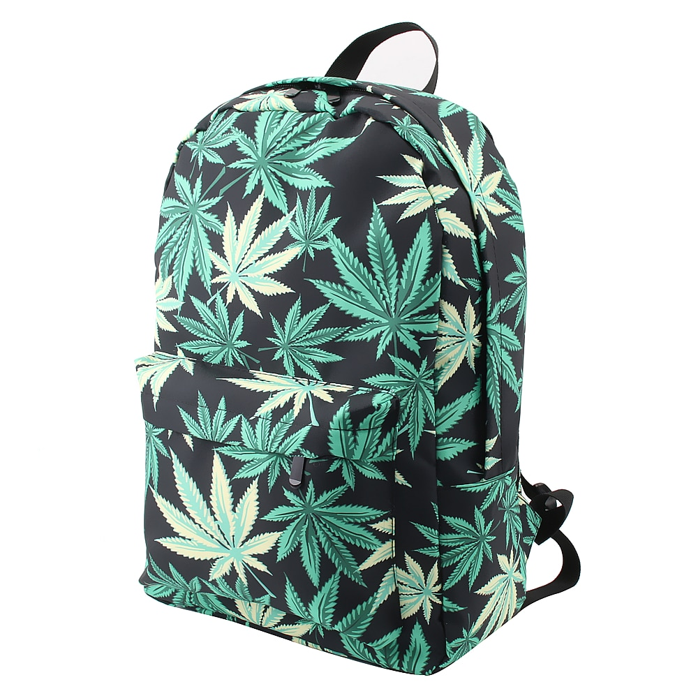 Green & Black Hemp Leaf Waterproof School Backpack