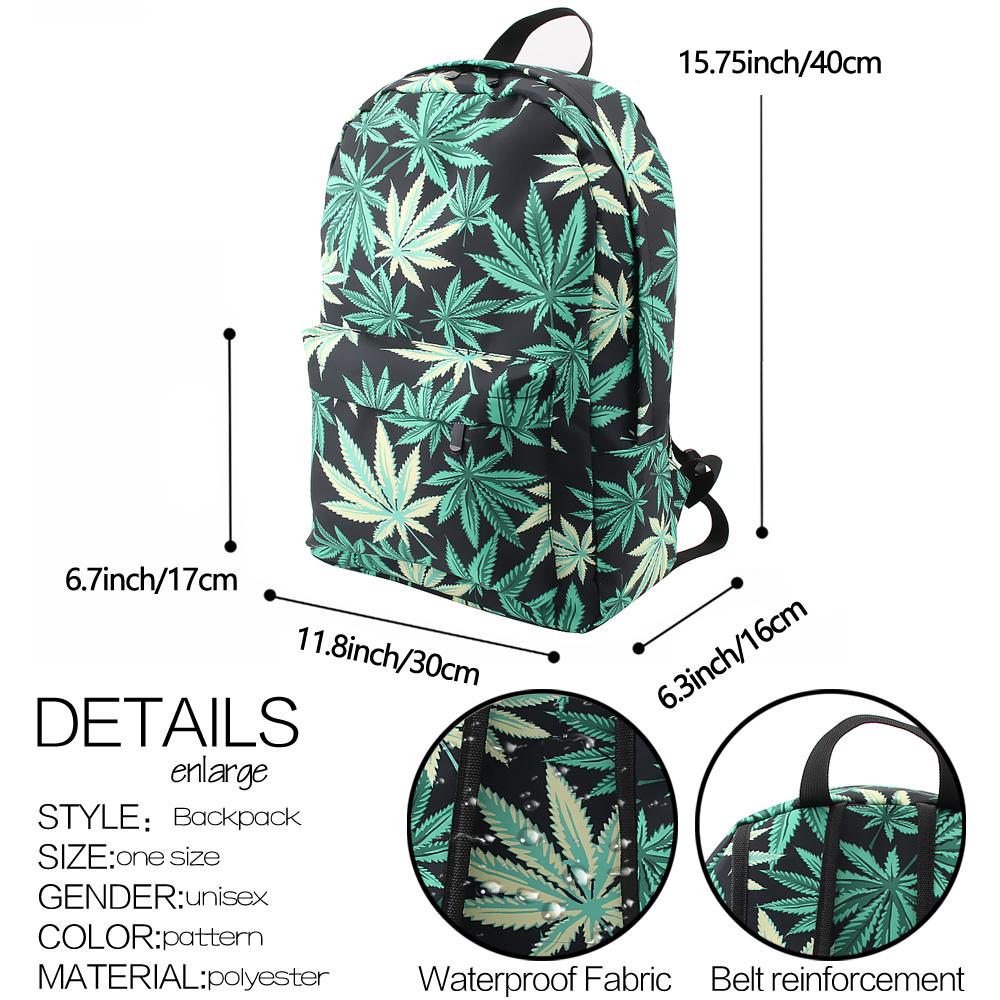 Green & Black Hemp Leaf Waterproof School Backpack - google-feed-2, backpacks-bags, apparel