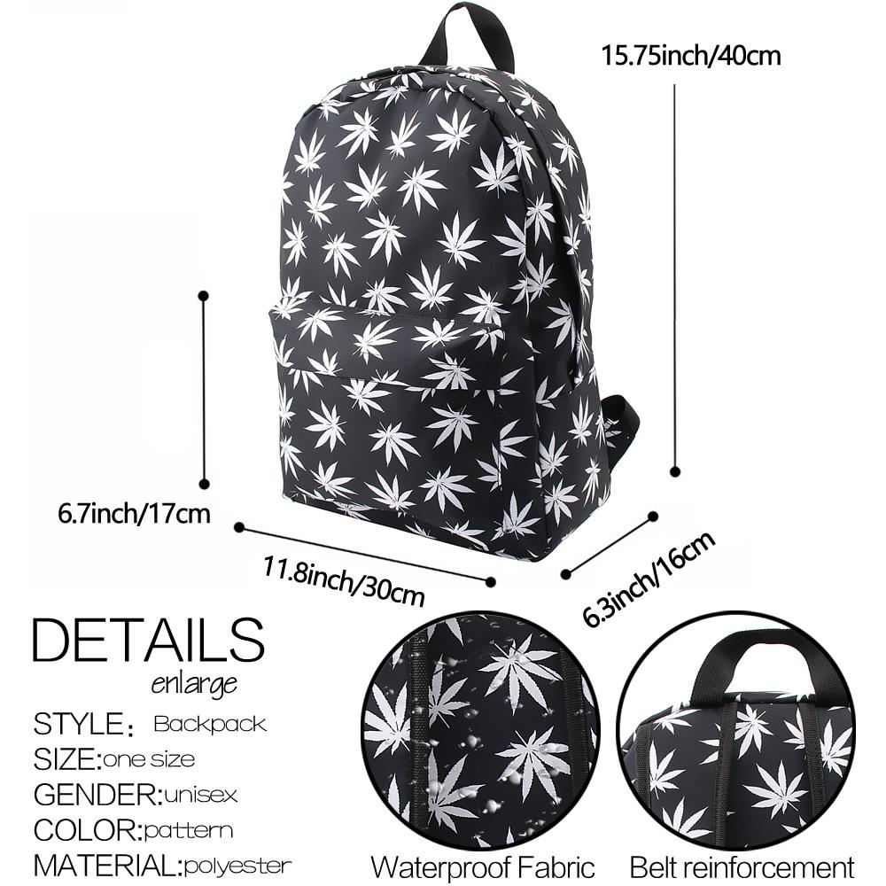 Black & White Hemp Leaf Waterproof School Backpack - weed-backpacks-bags, weed-apparel, reeferboss
