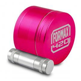 Formax420 Pink Aluminum Herb Grinder w/ Pollen Catcher, Scraper, & Pollen Press