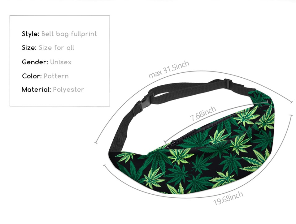 3D Printed Marijuana Leaf Printed Fanny Pack