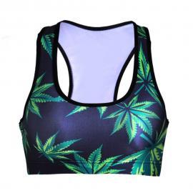 Marijuana Leaf Print Sports Bra Tank Top