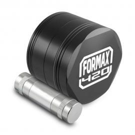 Formax420 62mm Black Metal Hex Herb Grinder w/ Scrapper & Pollen Press