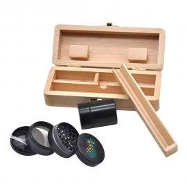 Wooden Stash Box Set w/ 4 Layer Herb Grinder & Storage Jar