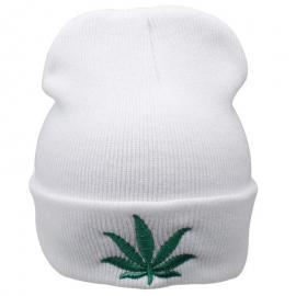 Green Pot Leaf Embroidered  Wool Head Cap Beanie