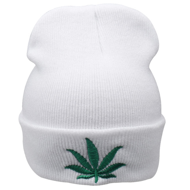 Green Pot Leaf Embroidered  Wool Head Cap Beanie