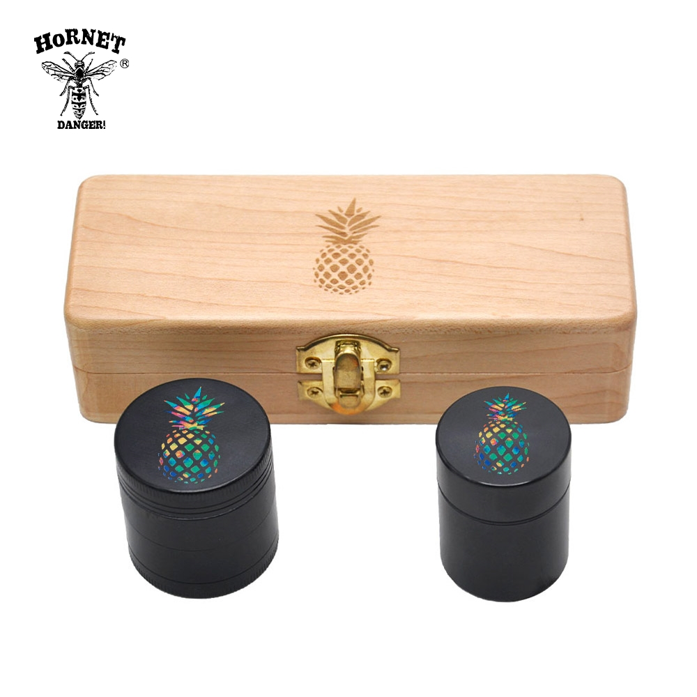 Wooden Stash Box w/ Aluminum Herb Grinder & Stash Jar