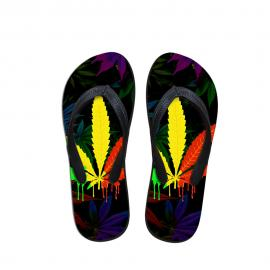 Rasta Style Pot Leaf Beach Thong Sandals