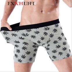 Men's Pot Leaf Cotton Boxer Brief Shorts