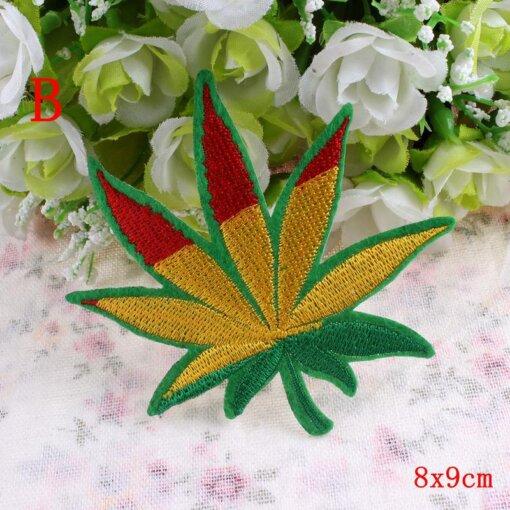 Marijuana Leaf Embroidery Iron On Patches