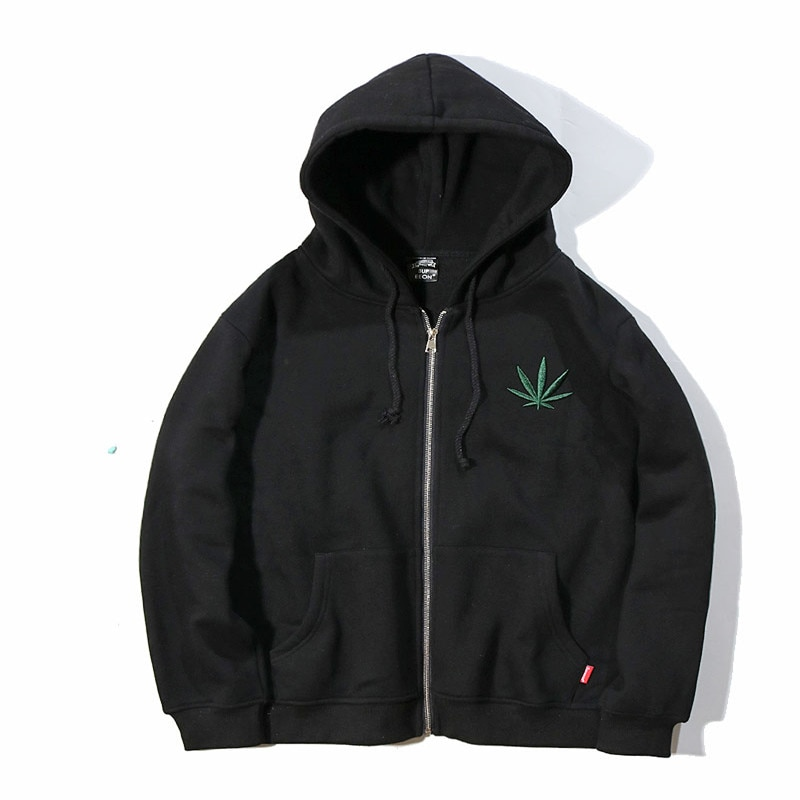 Indica Pot Leaf Marijuana Casual Zip UP Hoodie