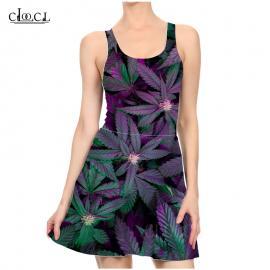 Purple Haze Marijuana Leaf Print Casual Summer Dress