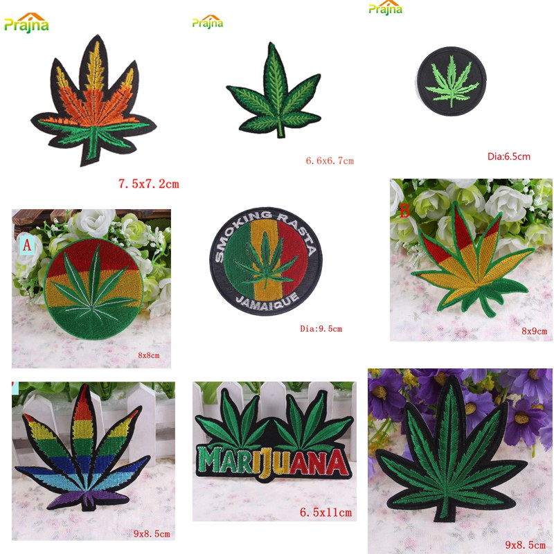 Marijuana Leaf Embroidery Iron On Patches - apparel