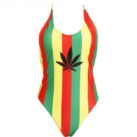 Rasta Jamaican Weed Leaf One Pieces Bikini Swimsuit