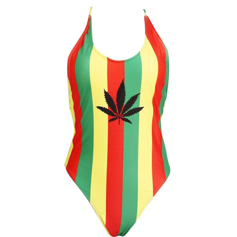 Rasta Jamaican Weed Leaf One Pieces Bikini Swimsuit