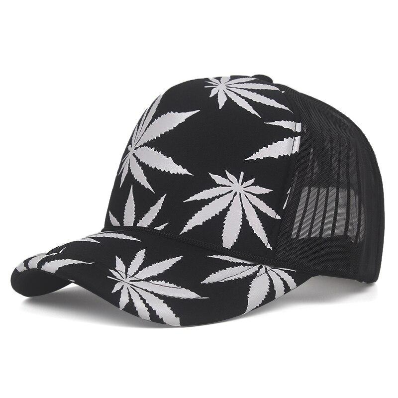 Marijuana Leaf Print Snapback Trucker Hat 6