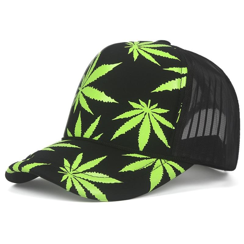 Marijuana Leaf Print Snapback Trucker Hat 8