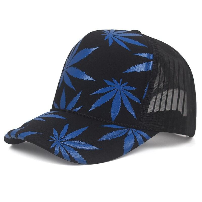 Marijuana Leaf Print Snapback Trucker Hat 9