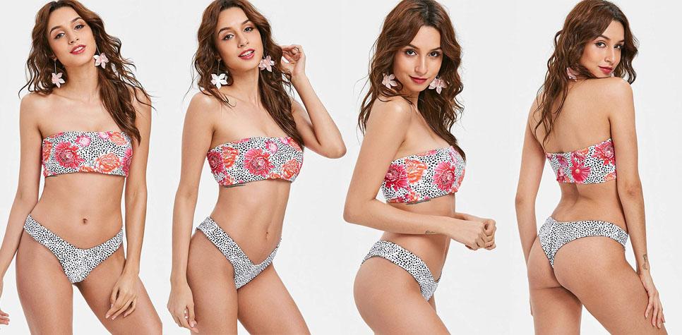 White & Green Hemp Leaf 2 Piece Tube Top Brazilian Bikini Set - womens-apparel, swimwear
