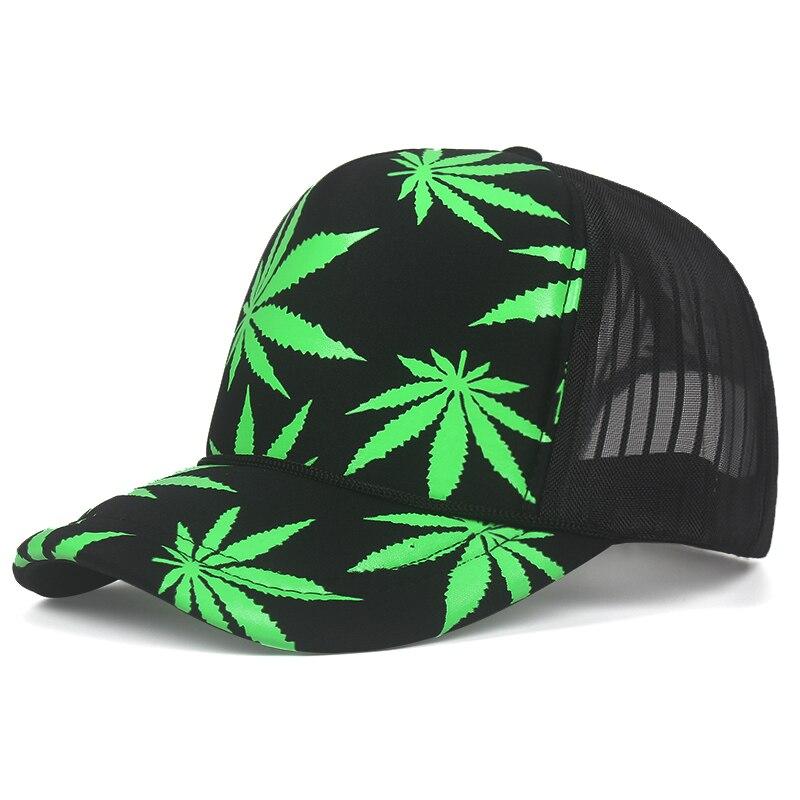 Marijuana Leaf Print Snapback Trucker Hat