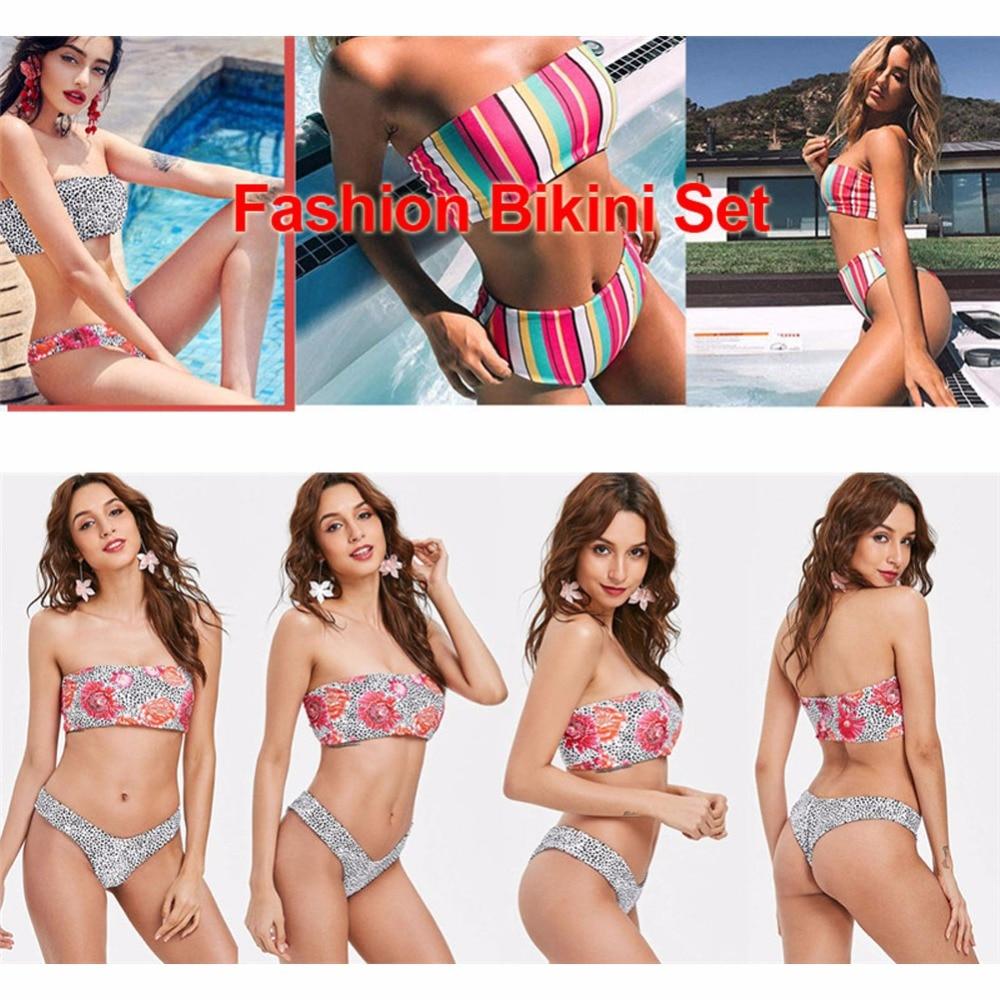 White & Green Hemp Leaf 2 Piece Tube Top Brazilian Bikini Set