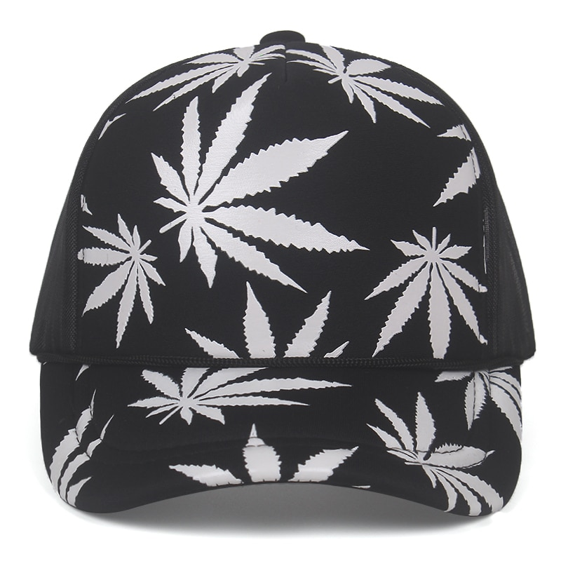 Marijuana Leaf Print Snapback Trucker Hat - weed-hats-beanies, google-feed-2, apparel