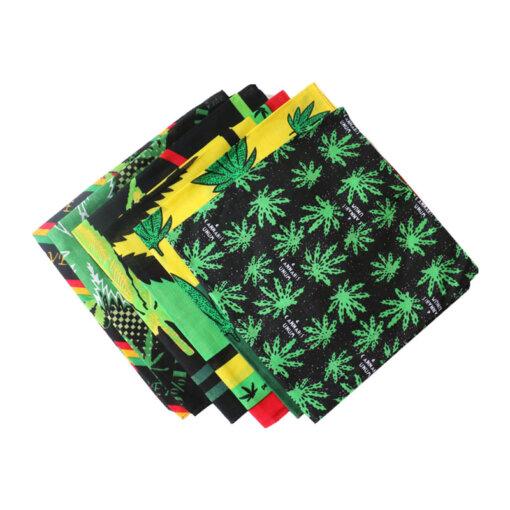 Square Green Weed Leaf Bandanna Headscarf