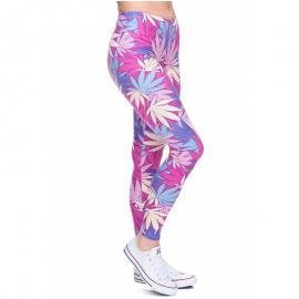 Pink & Blue Marijuana Leaf Leggings – One size
