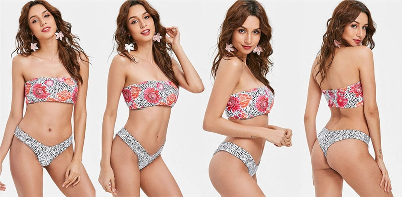 Trippy Weed Leaf Print Tube Top Brazilian Bikini Set - womens-apparel, weed-bikinis, swimwear, google-feed-2, apparel