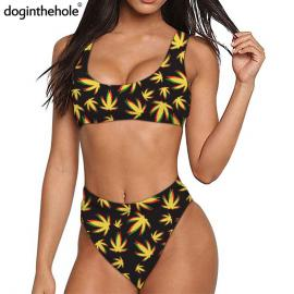 Trippy Weed Leaf Print Quick Dry Sports Bikini Set