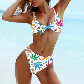 Leafy Marijuana Checkeredl Print Tie-Front Bikini Set