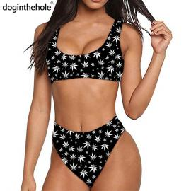 Black & White Weed Leaf Print Quick Dry Sports Bikini Set