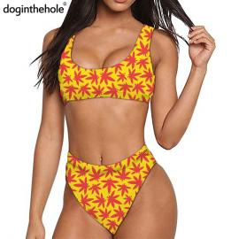 Yellow & Pink Weed Leaf Trippy Print Quick Dry Sports Bikini Set
