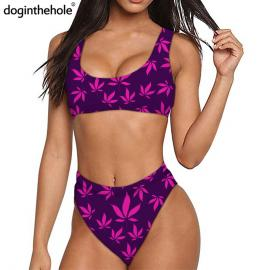 Purple & Pink Weed Leaf Print Quick Dry Sports Bikini Set