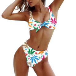 Leafy Marijuana White & Pastel Print Tie-Front Bikini Set