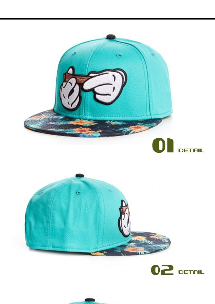 Mickey Hands Blunt Roll Snapback Hat - weed-hats-beanies