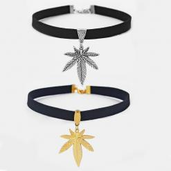 Faux Suede Pot Leaf Weed Choker Necklace