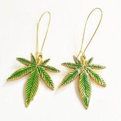 Handmade Green Pot Leaf Earrings