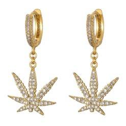 CZ Diamond Studded Pot Leaf Earrings